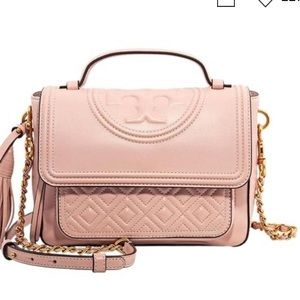 Tory Burch Fleming Quilted Satchel Pink Crossbody